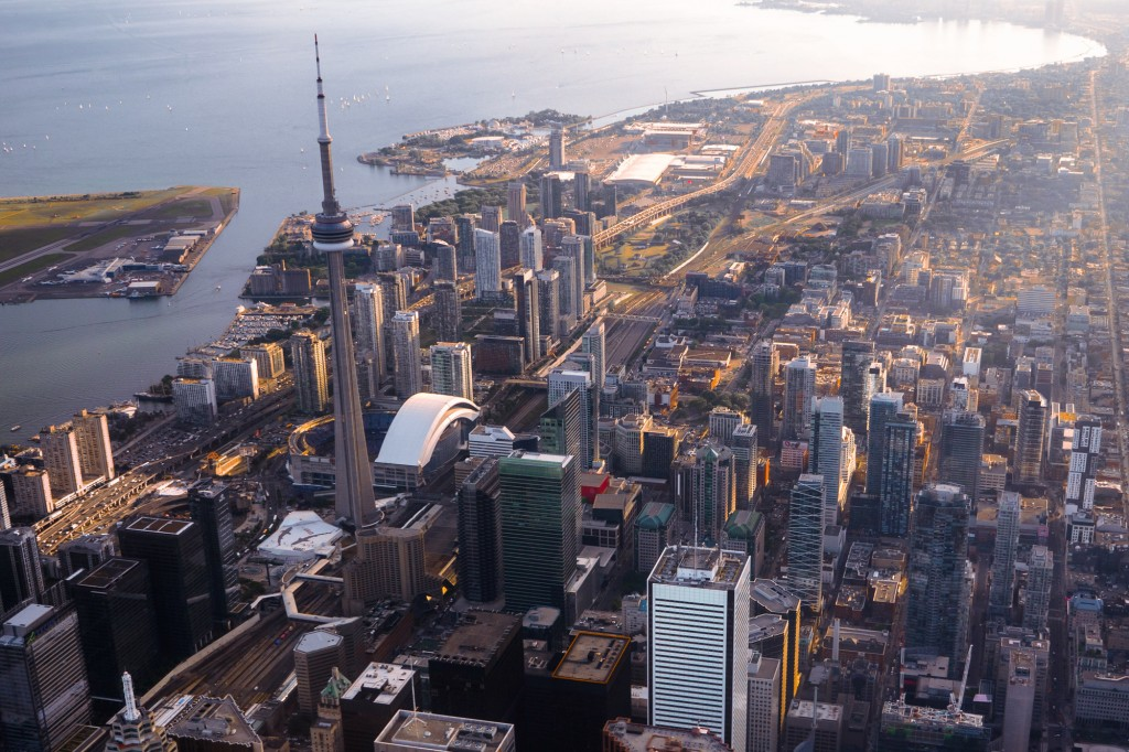 aerial view of cn tower and downtown toronto canada