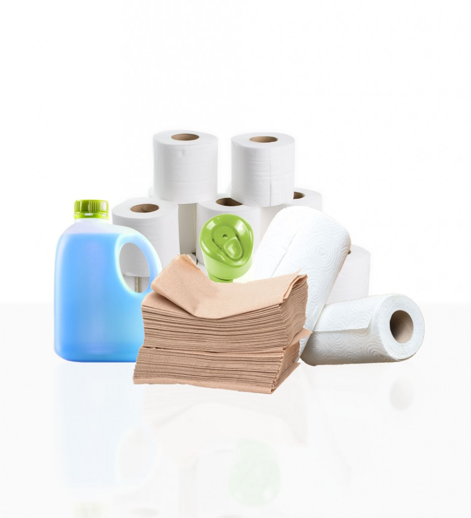 group of janitorial cleaning supplies including paper towels and toilet paper